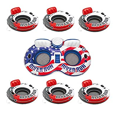Intex American Flag 2 Person Float w/ River Run 53 Inch Tube, Red (6 Pack): Toys & Games