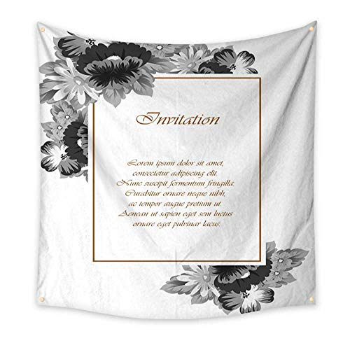 BlountDecor Dormitory Tapestry Flower Frame for Your Designs Greeting Cards Greeting Cards Invitations for Wedding Birthday Party Valentine s Day 63W x 63L Inch ()