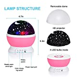 Baby Night Lights for Kids,DELWE Starry Night Light Rotating Moon Stars Projector, 4 LED Beads, 8 Light Colors, Light Lamp Starry Moon Sky Night Projector Kid Bedroom Lamp(Pink)