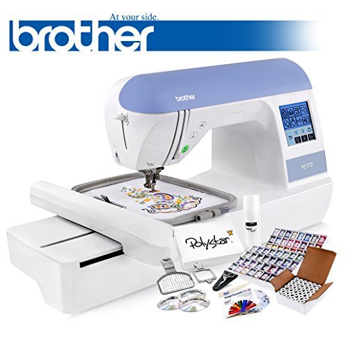 Brother PE770 Embroidery Machine + Grand Slam Package Includes 64 Embroidery Threads + Prewound Bobbins + Cap Hoop + Sock Hoop + Stabilizer + 15,000 Embroidery Designs + Scissors ($1,170 Value) by Brother