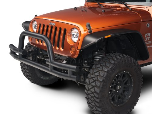 Barricade Tubular Front Bumper with Winch Cutout in Textured Black - Jeep Wrangler JK 2007-2018