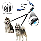 2 Dog Leash with Pouch Bag, No Tangle Adjustable Double Dog Leash up to 180lbs, Reflective Stitching Training Walking Leash Splitter with Dual Padded Handle for Small Medium Large Dog