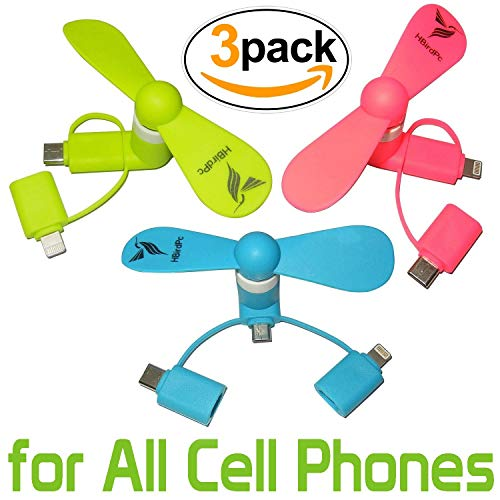 HBirdPc Cell Phone Fan 3-in-1 Portable Powerful Mini Phone Fan for iPhone/iPad, Android,Samsung Galaxy S8/S9/S10,Huawei,USB C,Type C - Pink/Blue/Green - 3 Piece
