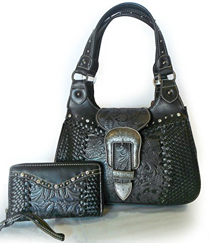 trinity-ranch-tooled-leather-western-shoulder-bag-wristlet-wallet-black