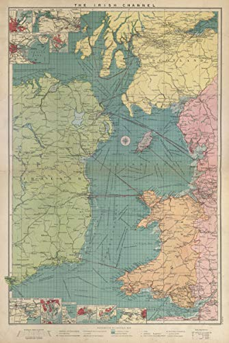 Map Of Ireland 1916.Amazon Com Irish Sea Sea Chart Ports Lighthouses Mail Routes