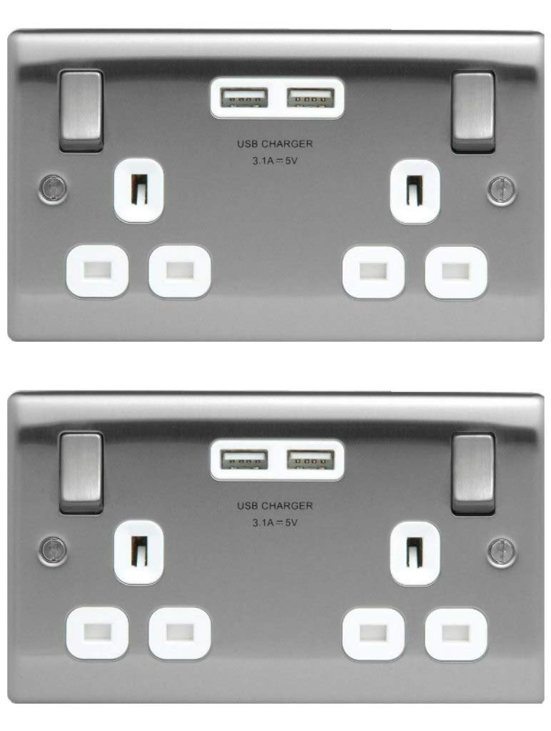Pack of2 x BG Nexus NBS22U3W Brushed Steel Double Sockets with USB Charger Ports British General