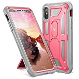 iPhone X Case, YOUMAKER Heavy Duty Protection Kickstand Shockproof Clip Holster Case Cover for All New Apple iPhone 10 (2017 Edition) 5.8 inch WITHOUT Built-in Screen Protector (Pink/Gray)