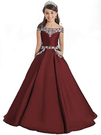 Oudy Girls Off The Shoulder A Line Pageant Dresses With Pockets Formal  Dresses 2 US Burgundy 4e12255f5