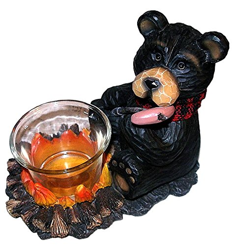 Young's Black Northwood Bear at Campfire Roasting Hot Dog Resin Votive Candle Holder #1 -