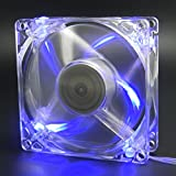 80mm case cooling fan - Autolizer Sleeve Bearing 80mm Silent Cooling Fan for Computer PC Cases - High Airflow, Quite, and Transparent Clear (Blue Quad 4-LEDs) - 2 Years Warranty