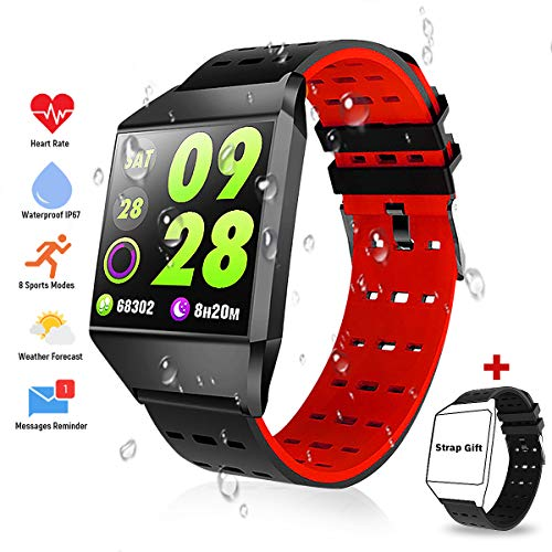 TagoBee TB10 Fitness Tracker IP67 Waterproof Smart Watch with Blood Pressure Heart Rate Monitor Pedometer Calories Counter Touch Screen Bluetooth Smartwatch for Android Phones Samsung iPhone Men Women