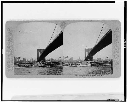 Photo: Photo of Stereograph,Great Brooklyn Bridge,New York,NY,Steamboat,c1905,Boat