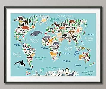 Amazon animal world map animal map worl map print kids world animal world map animal map worl map print kids world map for gumiabroncs Choice Image