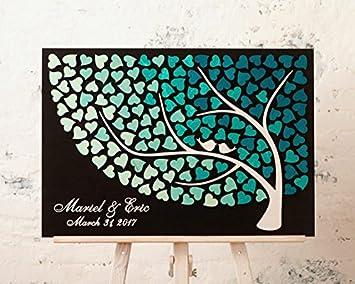 Amazon De Hochzeits Gastebuch Mit Blauem Herz Lebensbaum