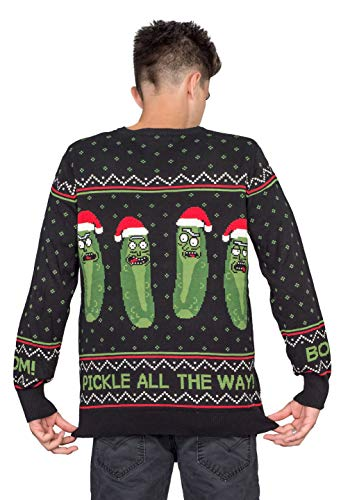 Rick And Morty Ugly Christmas Sweater.Ripple Junction Rick And Morty Boom Picklerick Ugly Christmas Sweater Adult Small