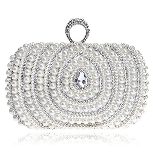 04ca52c443125 EPLAZA Women Rhinestone Beaded One Ring Evening Clutch Bags Handbags Bridal Wedding  Party Purse