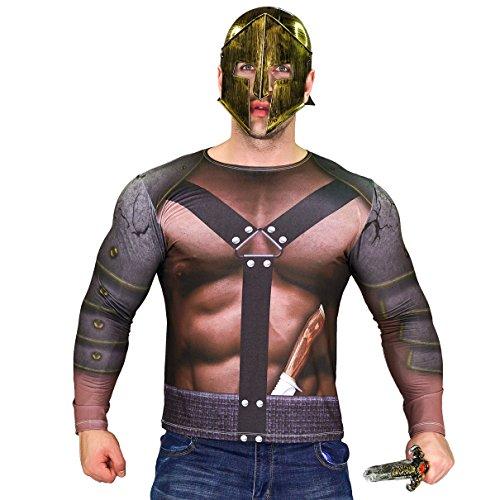 Mens Gladiator Costumes Tshirt (Men's Gladiator Roman Long Sleeve T-shirt (Small))