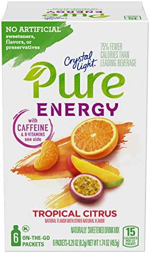 Crystal Light Pure Energy Tropical Citrus Drink Mix (48 Packets, 8 Boxes of 6)