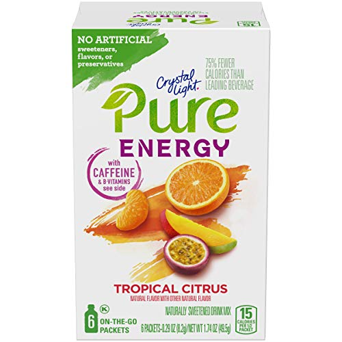 Crystal Light Pure Energy Tropical Citrus Drink Mix (48 On the Go Packets, 8 Boxes of 6) (Best Energy Drink Without Caffeine)