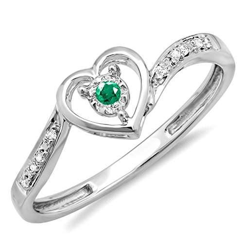 10K White Gold Genuine Emerald And White Diamond Ladies Heart Shaped Promise Bridal Engagement (10k Gold Emerald Heart)