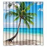 Beach Shower Curtain Palm Emerald Ocean Tropical Coast Beach Sea Bathroom Fabric Shower Curtain 66(W)X72(H) With Hooks