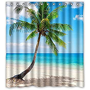 Palm Emerald Ocean Tropical Coast Beach Sea Bathroom Fabric Shower Curtain 66WX72