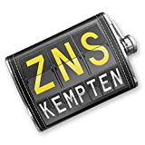Kitchen Bar Kempten 8oz Flask Stitched ZNS Airport Code for Kempten Stainless Steel - Neonblond