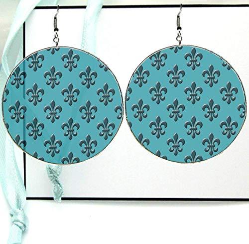 (Navy Blue French Fleur de lis Pattern Dangle Drop Hoop Earrings, Large Paper Image Resin Print with Silver Ear Hooks)