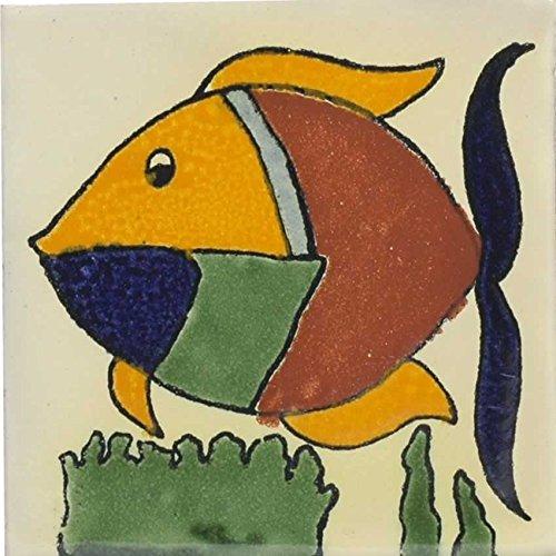 - Box of 9 - 4¼ x 4¼ Colorful Fish - Talavera Mexican Ceramic Tiles