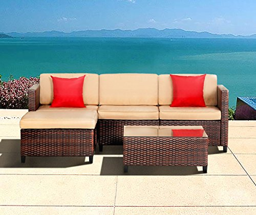 LAHAINA 5 Piece Wicker Sectional Sofa Set - All Weather Brown Striped Wicker Patio Furniture W/ Beige Zippered Cushions & Glass Top Coffee Table | Incl. Waterproof Cover & Necessary (5 Piece Garden Patio Furniture)