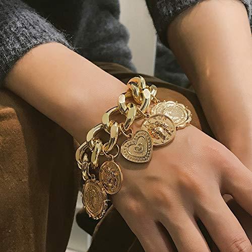 ocijf179 Coin Retro Bracelet Punk Chain, Hip-Hop Women Embossed Coin Love Heart Dangle Pendant Chain Bracelet Bangle Golden