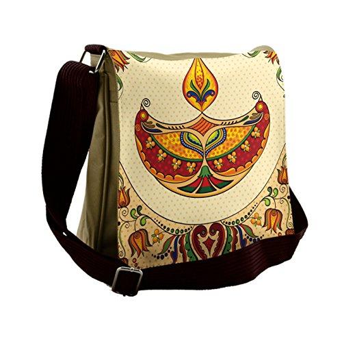 Lunarable Diwali Messenger Bag, Paisley Motifs Ethnic Design, Unisex Cross-body by Lunarable