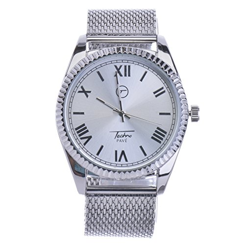Men's Heavy Large Silver Plated Mash Band Bling Hip Hop Watches WM 7723 S
