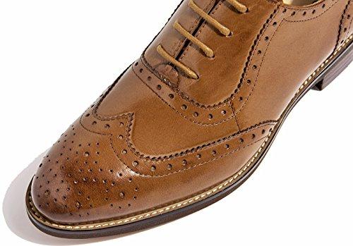 Marrón cuero de perforada Wingtip 1 con Purecolor SimpleC zapatos oficina vintage mujer cierre plana cordones Oxford cordones cómodos a864w