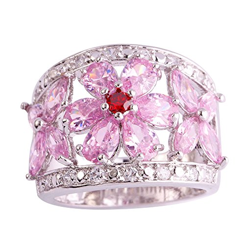 Empsoul Women 925 Sterling Silver Natural Novelty Filled Pink Topaz Engagement Love Promise Ring Hawaiian Plumeria Shaped