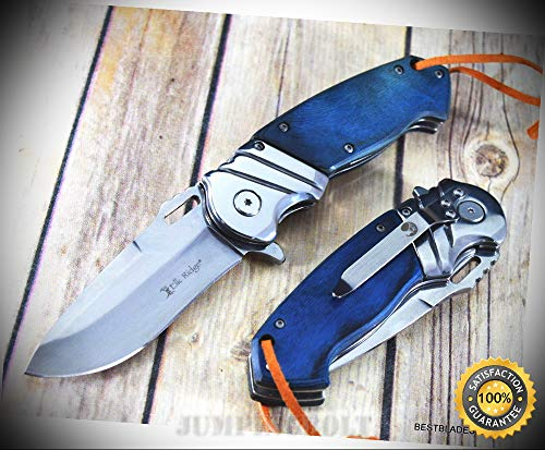 (8.25 INCH PAKKAWOOD HANDLE SPRING ASSISTED SHARP KNIFE WITH POCKET CLIP - Premium Quality Hunting Very Sharp EMT EDC)