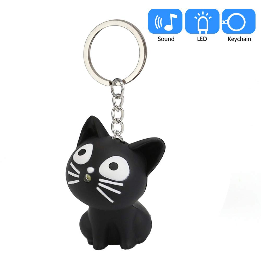 Aobiny Keychain, Cute Cat Keychain with LED Light and Sound Keyfob Kids Toy Gift (Black) by Aobiny (Image #4)