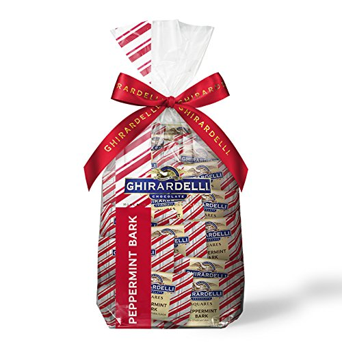Ghirardelli Chocolate Squares Holiday Gift Bag - 80 Count Assorted (Peppermint Bark) (Squares Ghirardelli Carmel)