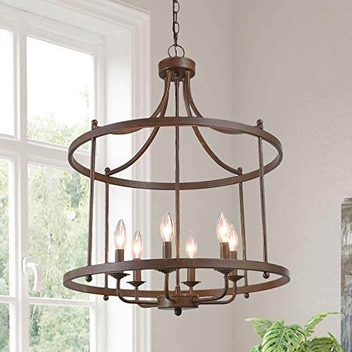 Chandeliers for Dining Room, Drum Pendant Lighting for Kitchen Island in Aged Bronze Metal Finish Farmhouse Lighting, 21.5 x 15 x 28 Kitchen Light Fixtures