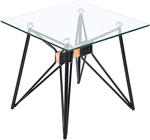 Homy Casa Petite Table Basse Moderne En Verre Trempe Transparent