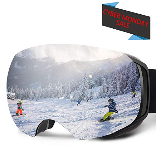 Binrrio Ski Snow Goggles OTG Magnet Interchangeable Dual Lens Anti-Fog UV Protection Goggles for Men,Women,Youth – Skiing,Snowboarding,Skating,Motorcycling Outdoor Sports Black Frame REVO Silver