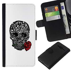 KLONGSHOP // Tirón de la caja Cartera de cuero con ranuras para tarjetas - Amor Rose Tattoo Ink Negro Metal Blanco - Samsung Galaxy Core Prime //