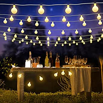 BlueFire Globe Fairy Light Battery Powered 22.9FT 50 LED Ball String Lights with Remote Control for Holiday Christmas New Year Wedding Party Gardens Lawns Patios Indoor & Outdoor Decoration(Warm White)
