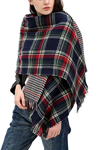 Urban CoCo Women's Tartan Plaid Blanket Scarf Winter Checked Wrap Shawl (Series 3 navy) (Navy Blue Knitted Scarf)