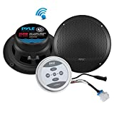 "Pyle Bluetooth Marine Grade Flush Mount 2-Way Speaker System Amplified Full Range Stereo Sound Dual Cone Dome Waterproof Universal Use Vehicle Home With Aux 3.5mm input pair 6.5"" 240 Watts (PLMRKT9)"