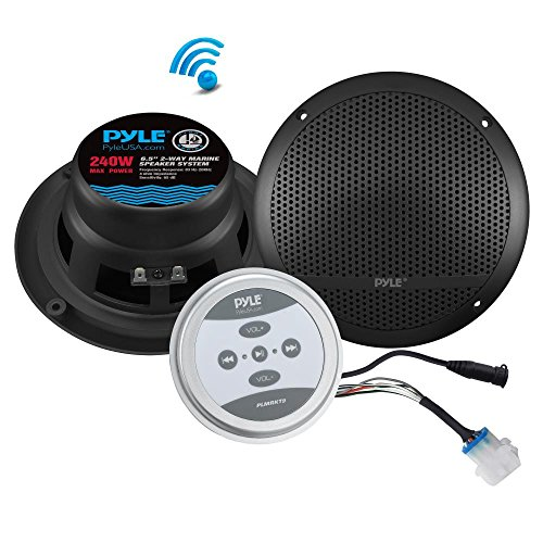 "Pyle Bluetooth Marine Grade Flush Mount 2-Way Speaker System Amplified Full Range Stereo Sound Dual Cone Dome Waterproof Universal Use Vehicle Home With Aux 3.5mm input pair 6.5"" 240 Watts (PLMRKT9) by Pyle"