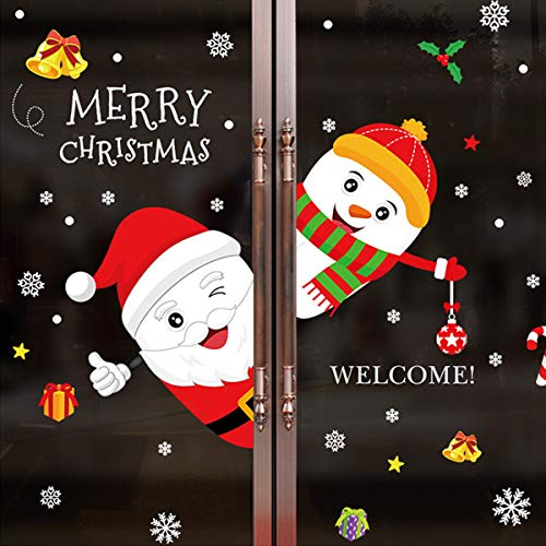 Sunm boutique Merry Christmas Window Clings Decal Snowman Santa Claus Wall Stickers Christmas Decorations Removable Art Decor DIY Christmas Wall Decal
