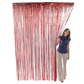Red Metallic Foil Fringe Curtains (Door Streamers Curtain)