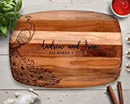 Peacock Gift, Personalized Cutting Board, Teak, Peacock Décor, Gift for Her, Mom Gifts, Peacock Wedding