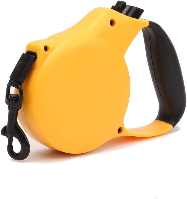 ZJIAWEI 犬の牽引ロープ、自動伸縮犬チェーン、牽引ロープのペット牽引中小犬のロープ、家庭用ペットトラクションロープ、歩行訓練のために、ウォーキングハイキング セキュリティ (Color : Yellow, Size : 5M)
